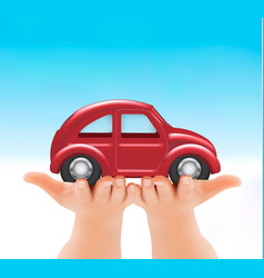 red car in hands vector image vector image