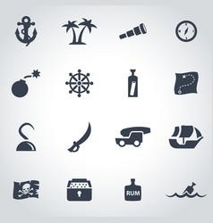 Black pirate chart icon set vector