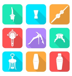 flat style white icons barman instruments set vector image vector image