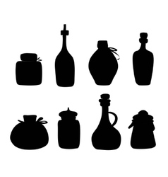 Doddle Black silhouette jars and bottles vector image
