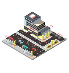 isometric city constructor with bicycle traffic vector image