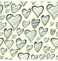 Seamless pattern with outline decorative hearts vector image vector image