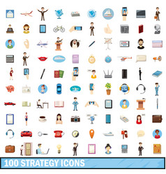 100 strategy icons set cartoon style vector image