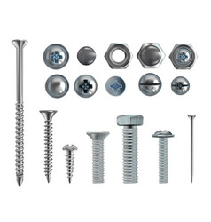 3d realistic steel bolts nails screws vector