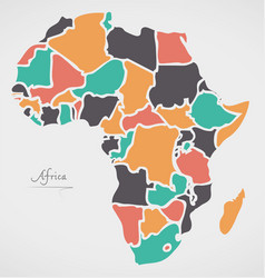 africa continent map with states vector image