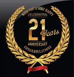 Anniversary golden laurel wreath 21 years vector