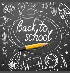 back to school banner doodle on chalkboard vector image