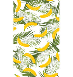 banana seamless pattern with palm leaves on white vector image