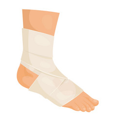 bandaged foot icon medicine and injured patient vector image