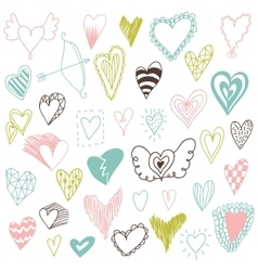 Beautiful hand drawn set of different hearts vector image