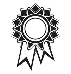 black and white rosette award silhouette vector image
