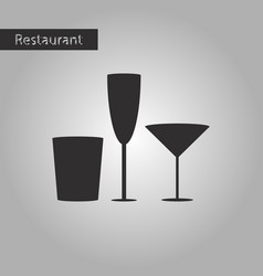 Black and white style icon glasses for wine vector