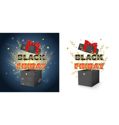 black friday promotion sale box with surprise vector image
