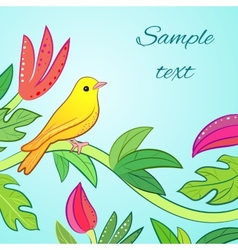 Bright yellow orange little tropical forest bird vector