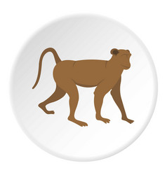 Brown monkey icon circle vector