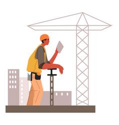 builder or repairman wearing hardhat at working vector image