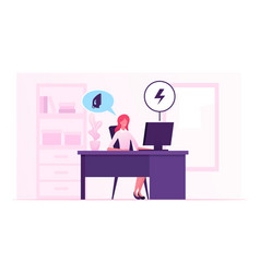 Businesswoman sitting at office desk getting alert vector