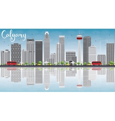 Calgary Skyline with Gray Buildings Blue Sky vector