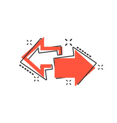 cartoon arrow left and right icon in comic style vector image