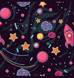 cartoon space seamless pattern rocket vector image