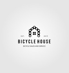 chain bicycle house bike logo vintage design vector image