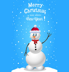christmas and new year card with cute snowman in vector image