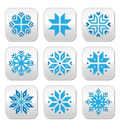 Christmas winter blue snowflakes buttons s vector