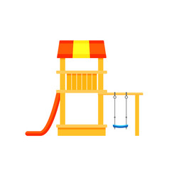 colorful playhouse with plastic slide and swings vector image