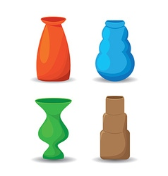 Colorful vases set vector