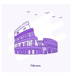 colosseum landmark purple dotted line skyline vector image
