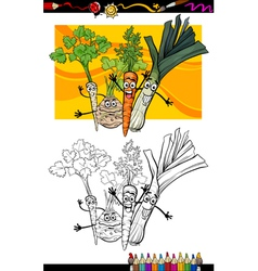 comic vegetables group for coloring book vector image