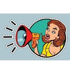 Comic woman agitator shouts into a megaphone vector