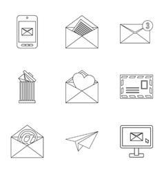 Communication via internet icons set vector