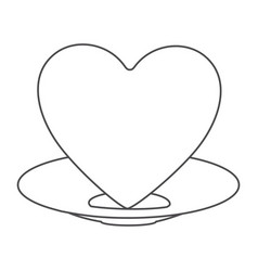 contour of healthy heart food and heart on dish vector image