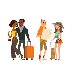 Couple tourist traveler with map and luggage vector