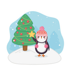 cute penguin and decorated tree merry christmas vector image