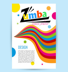 Design for dance studio colored letters card vector