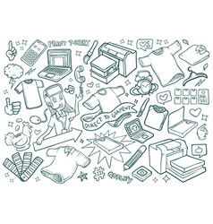Digital direct to garment tees doodles vector