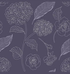 drawn hydrangea roses and leaves seamless pattern vector image