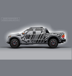 Editable template for wrap suv with bar code lines vector