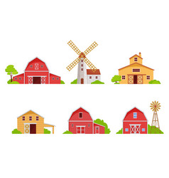 farm houses and barns set red wooden buildings vector image