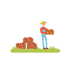 farmer standing holding wooden crate full of vector image