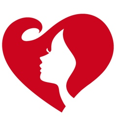 Female silhouette red heart vector