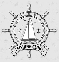 fishing sport club logo with steering wheel vector image