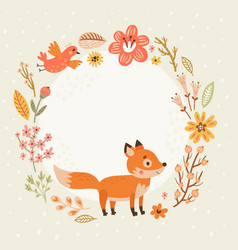 floral background frame for text with cute foxes vector image