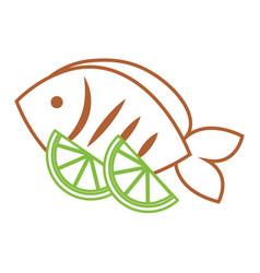 Food fresh fish and slide lime vector