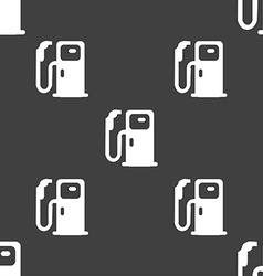 Fuel icon sign Seamless pattern on a gray vector