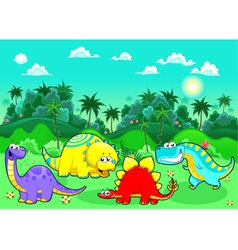 Funny dinosaurs in the forest vector image