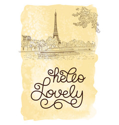 Gift card with hand lettering hello lovely and vector