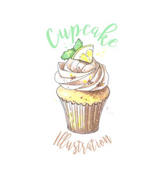 hand drawn cupcake with vector image